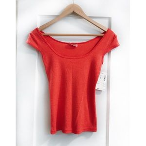 Michael Stars Coral One Size Fitted Top Cap Sleeve